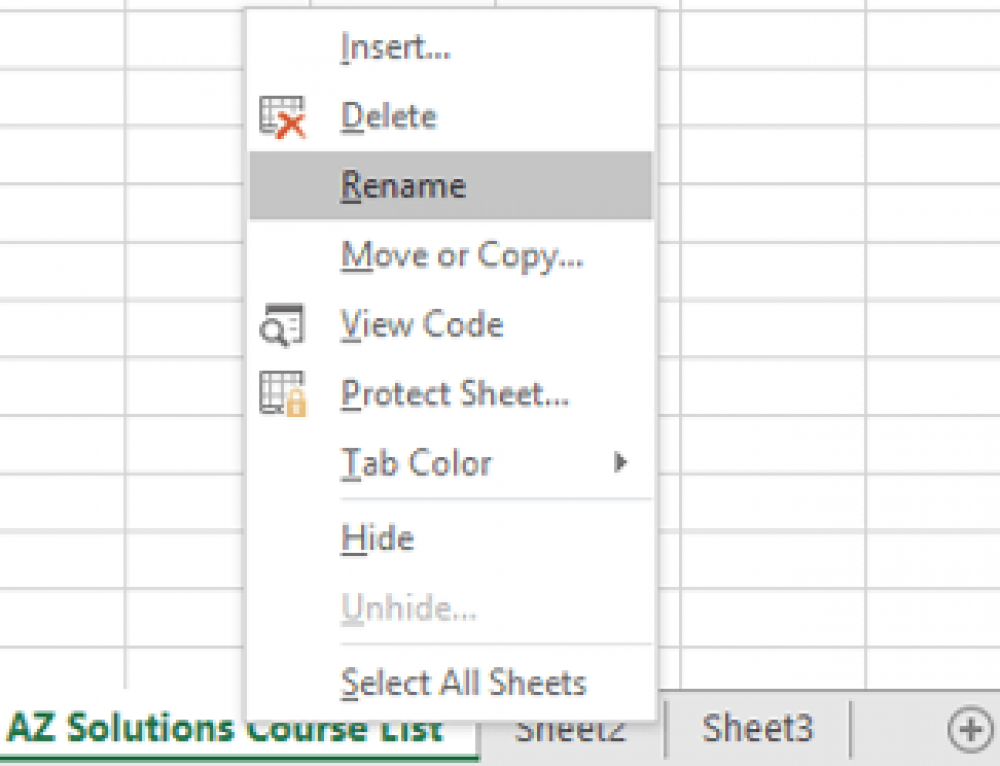 Naming Sheets in Microsoft Excel