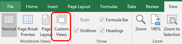 format worksheets custom view