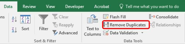 remove duplicates
